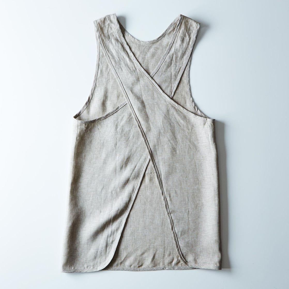 White linen apron - Cross Linen Apron
