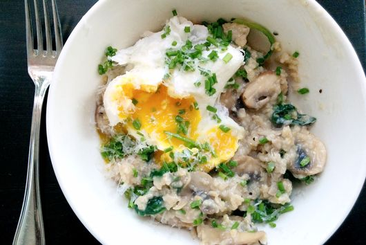 Apple, Cheddar and Vegetable Oat Risotto w/ Poached eggs