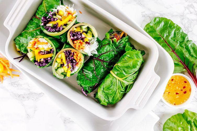 asian style rainbow chard wraps recipe on food52