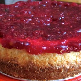Cranberry Compote Citrus Cheesecake with Cinnamon-Nutmeg Graham Crust