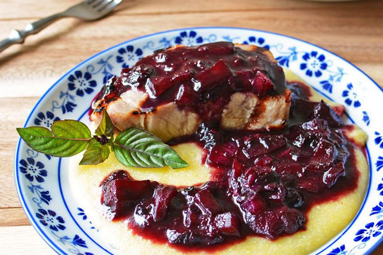 Grilled Pork Chops Blueberry Compote