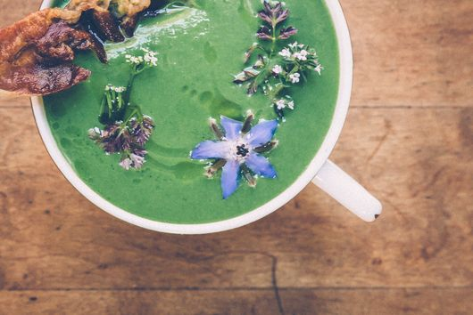 Spring Greens Soup with Crispy Prosciutto