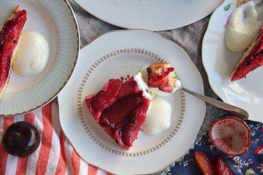 Upside Down Plum Passionfruit Cake