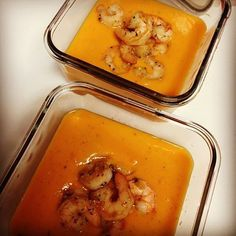 Sweet Potato and Ginger Soup with Garlic-Herb Shrimp