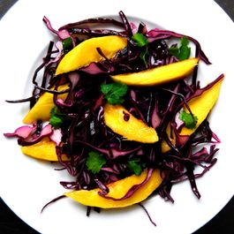 A stunning and delicious Red Cabbage and Mango Salad