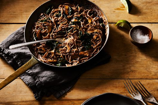 Brown Butter Mushrooms, Greens, and Soba Noodles
