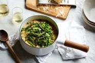 Quinoa–Red Lentil Risotto with Asparagus & Peas