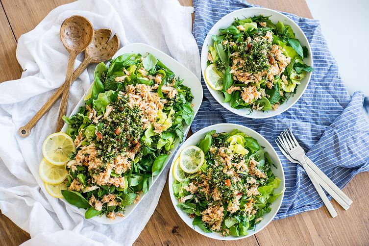 Summer Herb Salad with Fresh Crab, Quinoa Tabouleh, and Harissa Vinaigrette