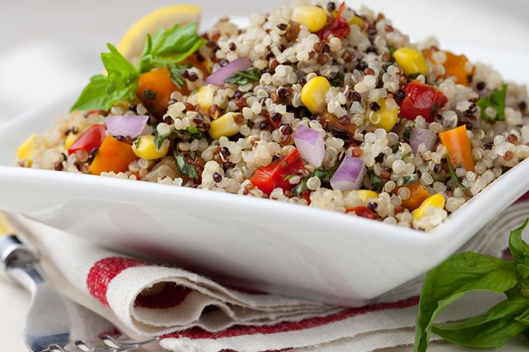 Basil, Pepper and Corn Summer Quinoa Salad
