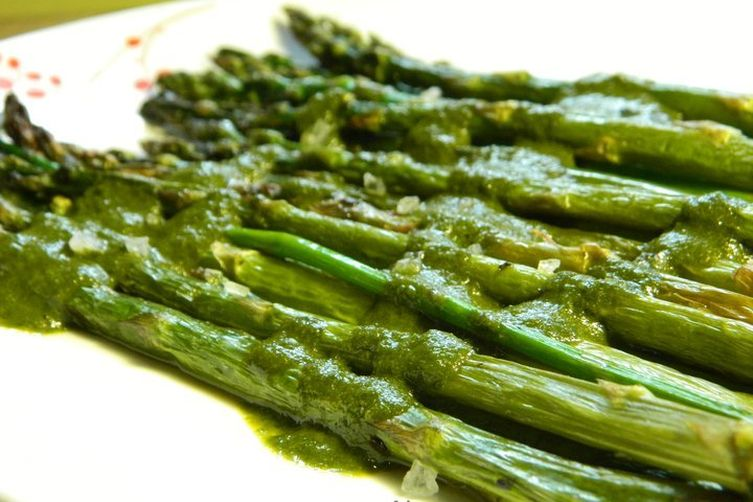 Roasted Asparagus in Balsamic Vinegar & Parsley Sauce with Parmesan Crisps