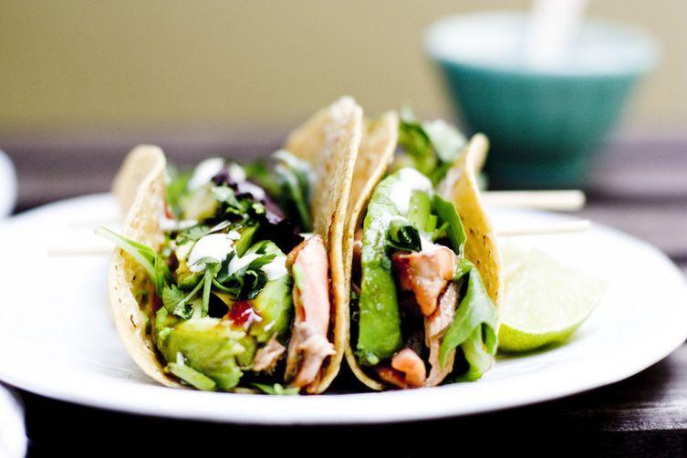 STRAWBERRY CHIPOTLE JAM GLAZED SALMON TACOS Recipe on Food52