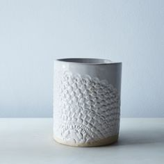 Handmade Stoneware Lace Canister