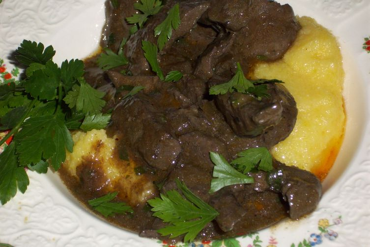 Liver with truffle oil and polenta