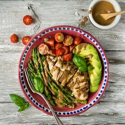Grilled Chicken and Asparagus Bowls with Creamy Balsamic Dressing