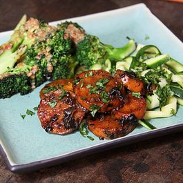 Maple, black bean sweet potatoes with sesame broccoli and zucchini noodles