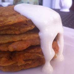 Carrot cake pancakes with orange cream cheese glaze