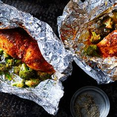 Tilapia with Smoked Paprika Butter and Broccoli in Foil Packets