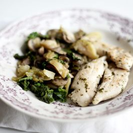 Sautéd of mushrooms, kale, Brussels sprouts and lemon and parsley chicken