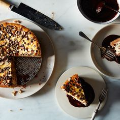 Ricotta Cheesecake Pie with Chocolate-Coffee Ganache
