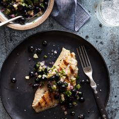 Pan-Seared Sea Bass with Blueberry-Cucumber Salsa