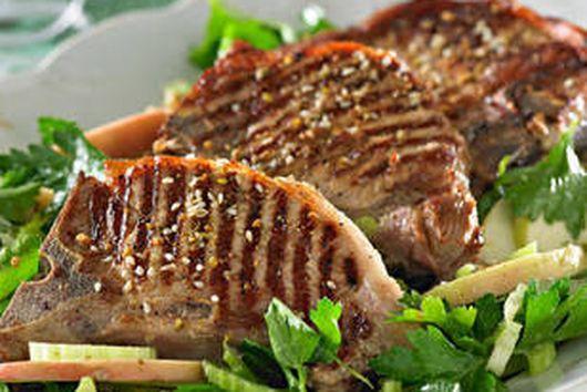 Moist Grilled Pork Chops w/ grape salad