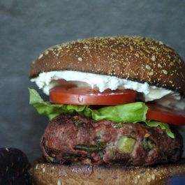 Jalapeno Pickle Burger with Whipped Feta and Tomato