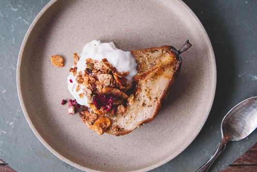 Honey Roasted Pear with Yogurt Mousse & Granola