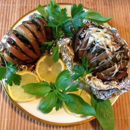 Fancy stuffed potatoes with mushrooms and herbs