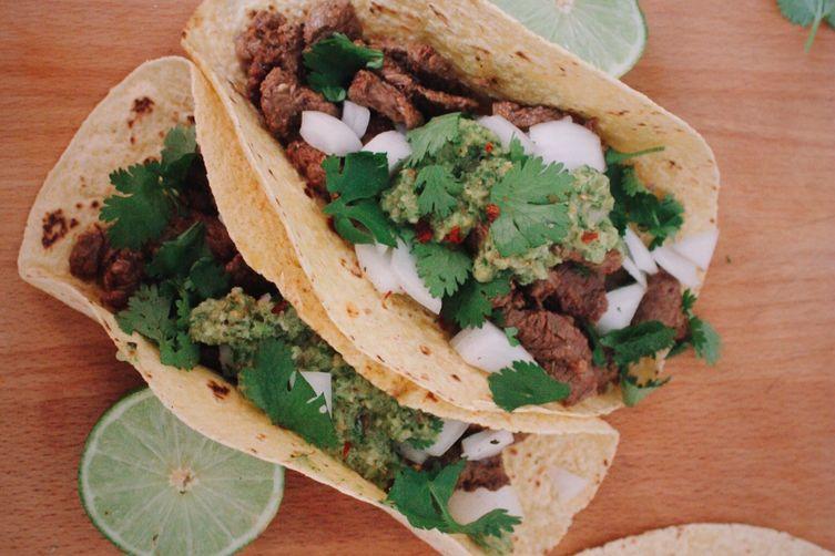 Carne Asada Tacos with Adobo & Salsa Verde