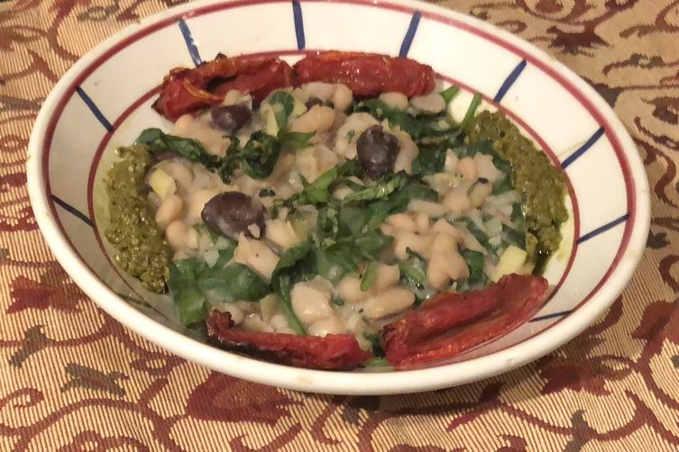 Cannelini Beans with Roasted Tomatoes & Pesto