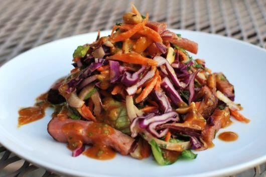 Thai Peanut Salad with Homemade Canadian Bacon