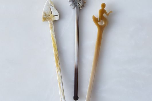 Hand-Carved Horn Swizzle Sticks (Set of 3)