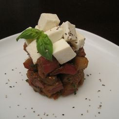 Balsamic Rhubarb with Breadpudding and Mozzarella