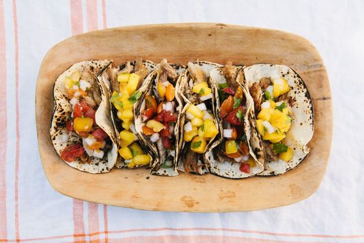 Slow-Cooker Carnitas Tacos With Peach & Tomato Salsas