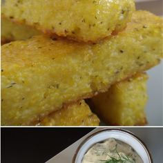 Baked Lemon Scented Polenta and Chickpea Fries with Tahini Caper Sauce
