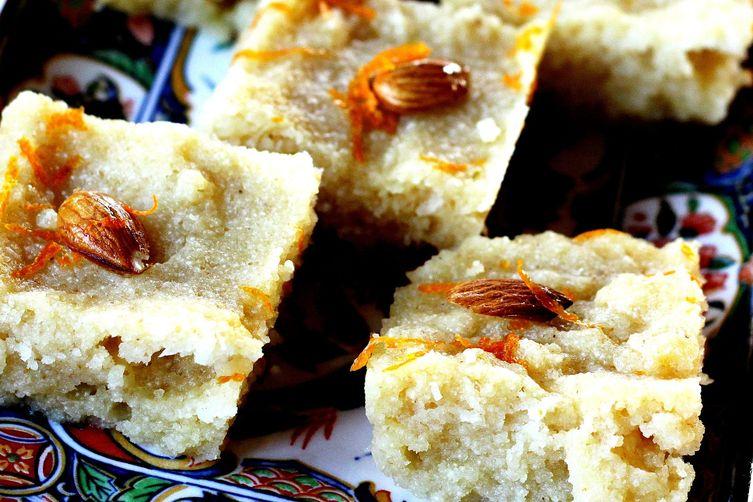 Basbousa - Semolina Cake soaked in a Lemon Rosewater Syrup Recipe on ...
