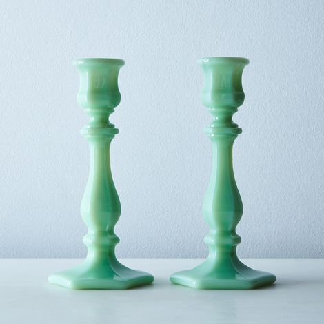 Jadeite Glass Candlesticks (Set of 2)