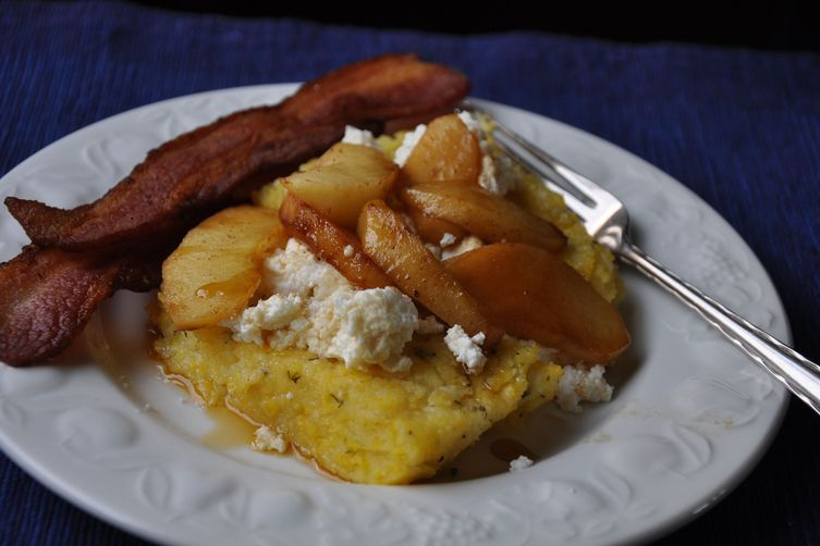 Herbed and Roasted Ricotta Whey Polenta with Fresh Ricotta and Apples