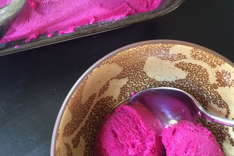 Beet maple walnut ice cream