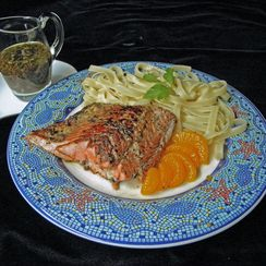 Orange Balsamic Salmon Over Pasta