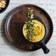 Roasted pumpkin and harissa hummus