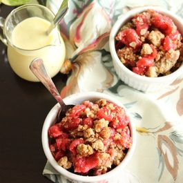 CHERRY CRISP WITH CRÈME ANGLAISE (GLUTEN-FREE)
