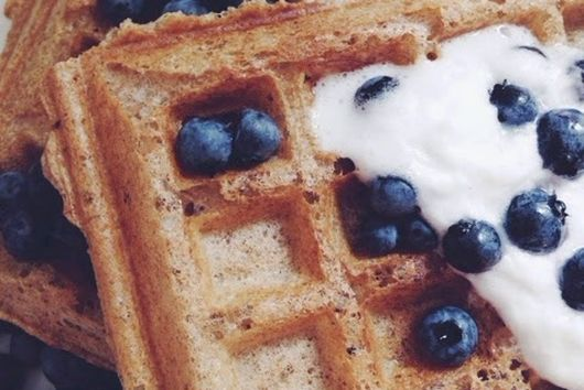 Vegan Yeasted Whole Wheat-Vanilla Waffles with Coconut Whipped Cream