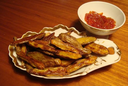 "Oven Baked ""Fries"" with Cayenne and Truffle Oil"