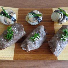 Beef and Mushroom Sushi with Wasabi Miso