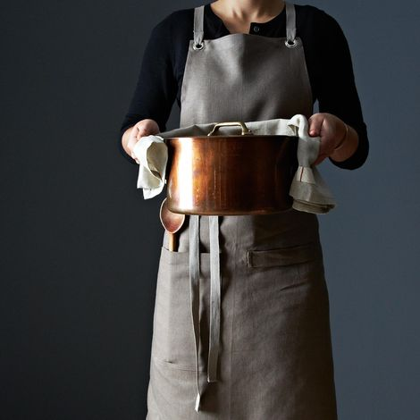 Bark Cross-Back Kitchen Apron with Slate Ties