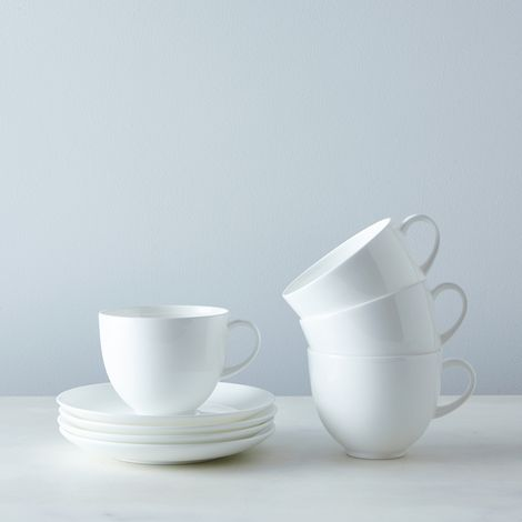 Purio White Cup & Saucer (Set of 4)