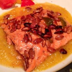 Pan-Seared Salmon with Smoky Pepita Crust and Sweet Jalapeño Pepper Sauce