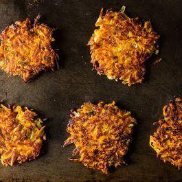 Sweet Potato Parsnip Latkes with Feta and Leeks