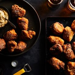 Chicken Nuggets with Warm Kimchi-Bacon Ranch Dip